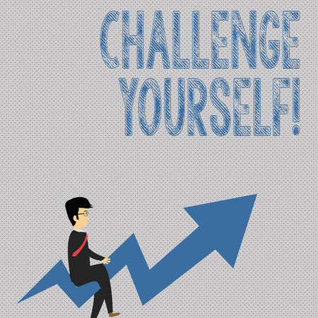Writing note showing Challenge Yourself. Business concept for opportunity to be part of something bigger than ourselves Businessman with Eyeglasses Riding Crooked Arrow Pointing Up
