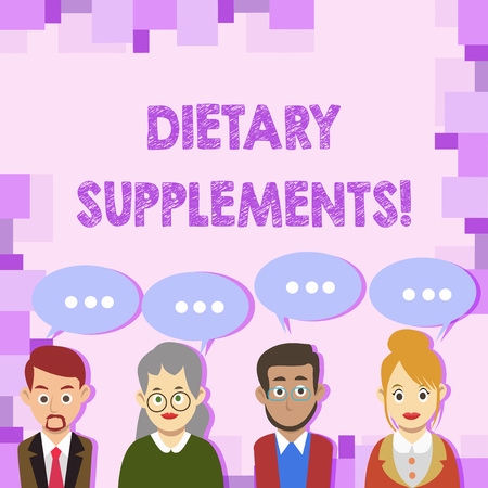 Conceptual hand writing showing Dietary Supplements. Concept meaning Product taken orally intended to supplement ones diet Group of Business People with Speech Bubble with Three Dots Reklamní fotografie