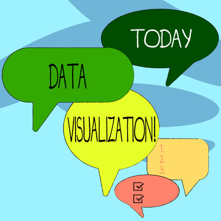 Handwriting text writing Data Visualization. Conceptual photo representation of information in the form of a chart Many Color Speech Bubble in Different Sizes and Shade for Group Discussion