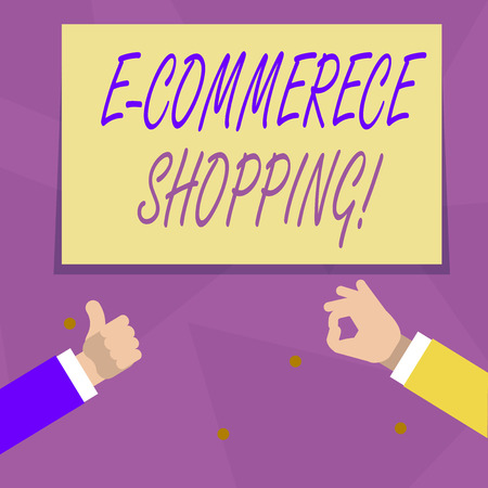 Handwriting text E Commerce Shopping. Conceptual photo directly buy goods or service from a seller over the web Two Businessmen Hands Gesturing the Thumbs Up and Okay Sign for Promotion