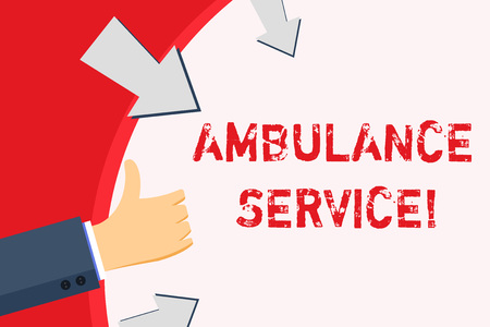 Handwriting text Ambulance Service. Conceptual photo emergency response wing of the National Health Service Hand Gesturing Thumbs Up and Holding on Blank Space Round Shape with Arrows Stock Photo