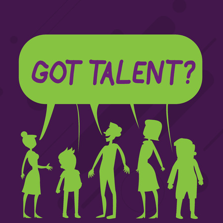 Word writing text Got Talent question. Business photo showcasing asking if got natural ability to be good at something Silhouette Figure of People Talking and Sharing One Colorful Speech Bubble