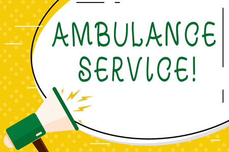 Writing note showing Ambulance Service. Business concept for emergency response wing of the National Health Service Oval Shape Sticker and Megaphone Shouting with Volume Icon Stock Photo