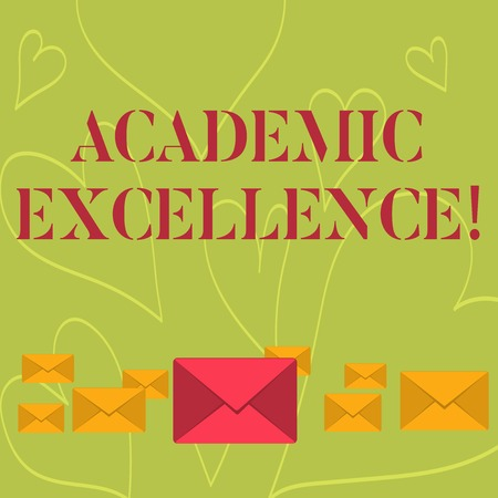 Handwriting text writing Academic Excellence. Conceptual photo Achieving high grades and superior perforanalysisce Pastel Color Closed Envelopes in Different Sizes with Big one in the Middle
