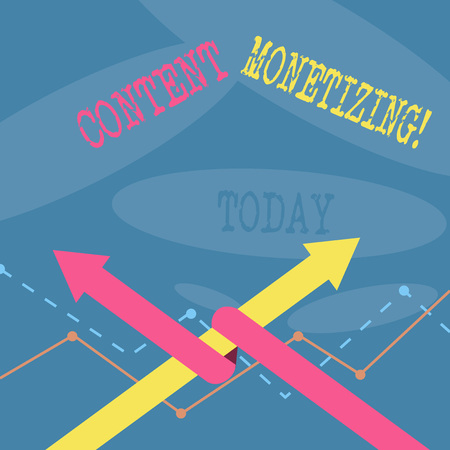Word writing text Content Monetizing. Business photo showcasing making money from content that exists on your website Two Arrows where One is Intertwined to the other as Team Up or Competition