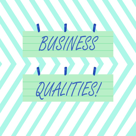 Word writing text Business Qualities. Business photo showcasing meeting the needs and expectations of customers Two Color Blank Strip Size Lined Paper Sheet Hanging Using Blue Clothespin Archivio Fotografico