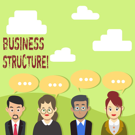 Handwriting text Business Structure. Conceptual photo Organization framework that is legally recognized Group of Business People with Blank Color Chat Speech Bubble with Three Dots
