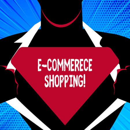 Handwriting text writing E Commerce Shopping. Conceptual photo directly buy goods or service from a seller over the web Man in   Pose Opening his Shirt to reveal the Blank Triangular Фото со стока