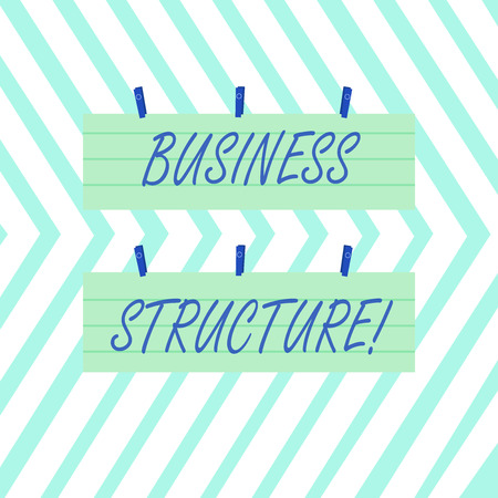 Word writing text Business Structure. Business photo showcasing Organization framework that is legally recognized Two Color Blank Strip Size Lined Paper Sheet Hanging Using Blue Clothespin Banco de Imagens