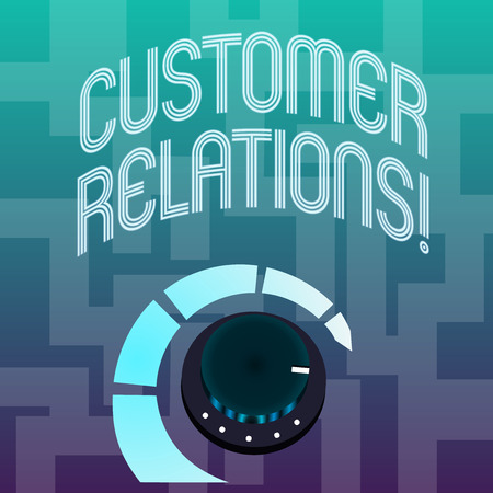 Text sign showing Customer Relations. Business photo text approach to analysisage a company s is interaction with customer Volume Control Metal Knob with Marker Line and Colorful Loudness Indicator Stock Photo