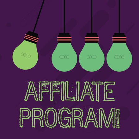 Writing note showing Affiliate Program. Business concept for automated electronic program that involve a web advertiser Color Pendant Bulb Hanging with One Different Shade Lightbulb Stock Photo