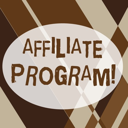 Text sign showing Affiliate Program. Business photo text automated electronic program that involve a web advertiser Geometrical Shapes and Linear Combination in Brown Tone in Abstract Pattern