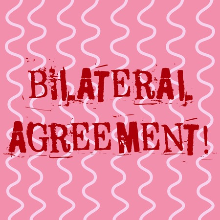Conceptual hand writing showing Bilateral Agreement. Concept meaning Legal obligations to nonbinding agreements of principle White Wavy Curly Line Pattern on Pink Surface for Feminine