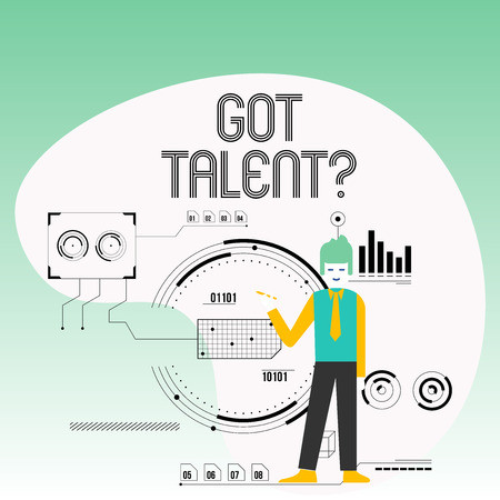 Text sign showing Got Talent question. Business photo text asking if got natural ability to be good at something Man Standing Holding Pen Pointing to Chart Diagram with SEO Process Icons