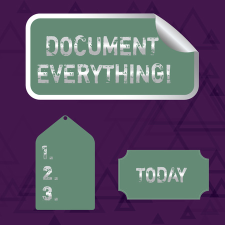 Writing note showing Document Everything. Business concept for computer file that contains text that you have written Color Label Self Adhesive Sticker with Border Corner and Tag