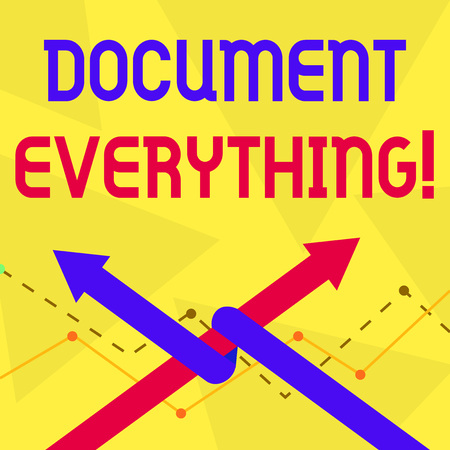 Handwriting text Document Everything. Conceptual photo computer file that contains text that you have written Two Arrows where One is Intertwined to the other as Team Up or Competition