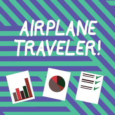 Conceptual hand writing showing Airplane Traveler. Concept meaning the action or process of making a journey by aircraft Presentation of Bar, Data and Pie Chart Graph on White Paper 写真素材