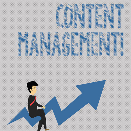 Writing note showing Content Management. Business concept for programs used to create and analysisage digital content Businessman with Eyeglasses Riding Crooked Arrow Pointing Up