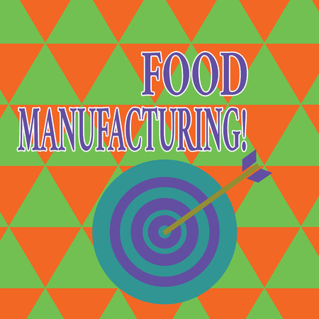 Text sign showing Food Manufacturing. Business photo showcasing transformation of agricultural products into food Color Dart Board in Concentric Style with Arrow Hitting the Center Bulls Eye