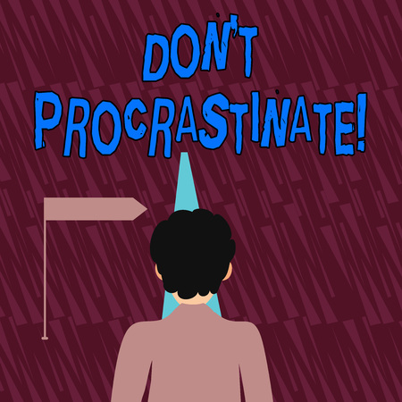 Text sign showing Dont Procrastinate. Business photo showcasing Avoid delaying or slowing something that must be done Man Facing the Distance Ahead and Blocking the View of Straight Narrow Path Stock Photo