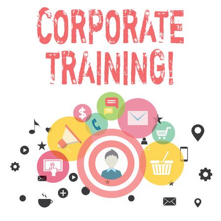 Text sign showing Corporate Training. Business photo showcasing improving the employees perforanalysisce morale and skills photo of Digital Marketing Campaign Icons and Elements for Ecommerce