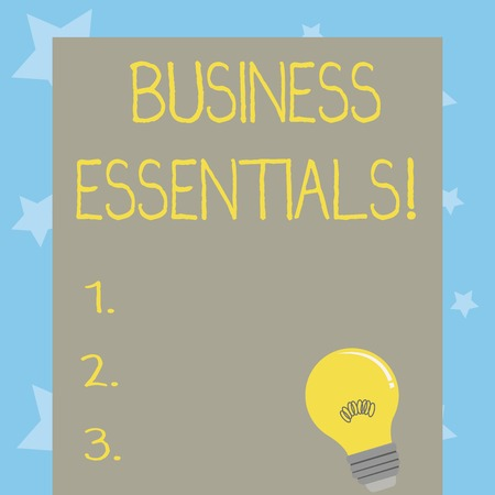 Conceptual hand writing showing Business Essentials. Concept meaning important key ideas to improve business skills Light Bulb with Filament Inside Resting on Blank Color Paper