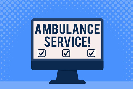Conceptual hand writing showing Ambulance Service. Concept meaning emergency response wing of the National Health Service Desktop Computer Colorful Monitor Screen Freestanding Table