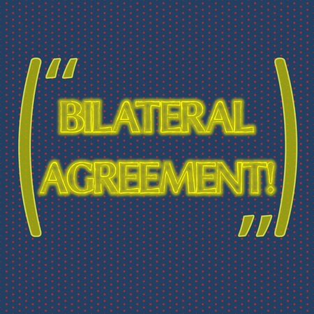 Writing note showing Bilateral Agreement. Business concept for Legal obligations to nonbinding agreements of principle Infinite Color Polka Dots Arranged in Columns on Dark Shade Background Imagens