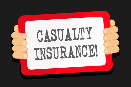 Word writing text Casualty Insurance. Business photo showcasing overage against loss of property or other liabilities Color Tablet Smartphone with Blank Screen Handheld from the Back of Gadget