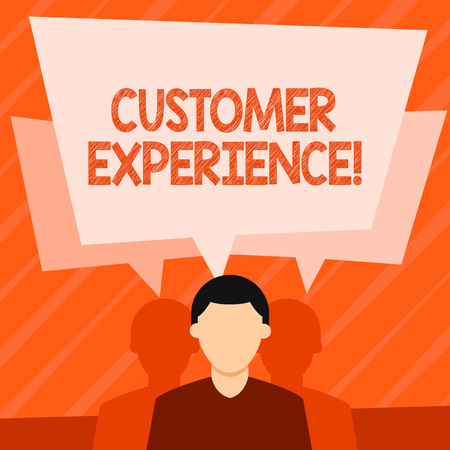 Word writing text Customer Experience. Business photo showcasing product of an interaction between a client and customer Faceless Man has Two Shadows Each has Their Own Speech Bubble Overlapping 版權商用圖片