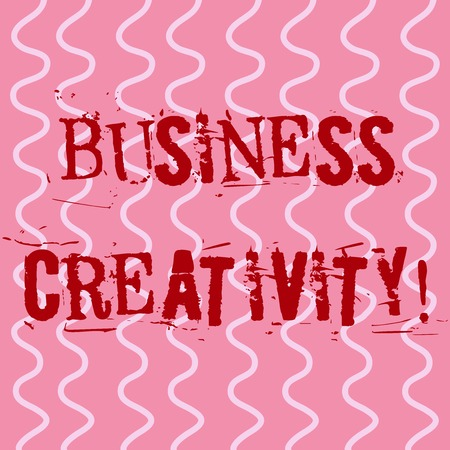 Conceptual hand writing showing Business Creativity. Concept meaning act of turning new and imaginative ideas into reality White Wavy Curly Line Pattern on Pink Surface for Feminine