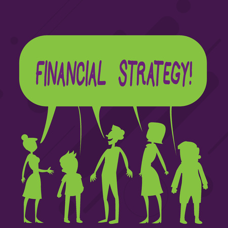 Word writing text Financial Strategy. Business photo showcasing plan to finance its overall operations to meet objectives Silhouette Figure of People Talking and Sharing One Colorful Speech Bubble