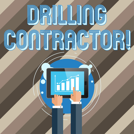 Text sign showing Drilling Contractor. Business photo text contract their services mainly for drilling wells Businessman Hand Touching Pointing to Bar Line Chart on Smartphone Screen