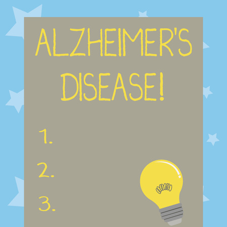 Conceptual hand writing showing Alzheimer S Is Disease. Concept meaning Advanced mental deterioration that occur in old age Light Bulb with Filament Inside Resting on Blank Color Paper Imagens