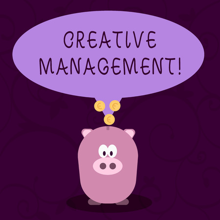 Word writing text Creative Management. Business photo showcasing Managing of creative thinking skills and mental process Color Speech Bubble with Gold Euro Coins on its Tail Pointing to Piggy Bank