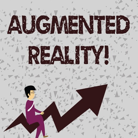 Word writing text Augmented Reality. Business photo showcasing interactive experience of a realworld environment Businessman with Eyeglasses Riding Crooked Color Arrow Pointing Going Up