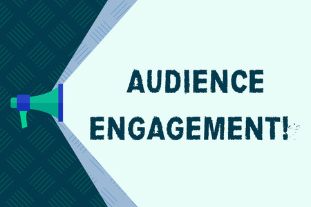 Word writing text Audience Engagement. Business photo showcasing active involvement of an audience in a live broadcast Megaphone Extending the Capacity of Volume Range thru Blank Space Wide Beam 免版税图像