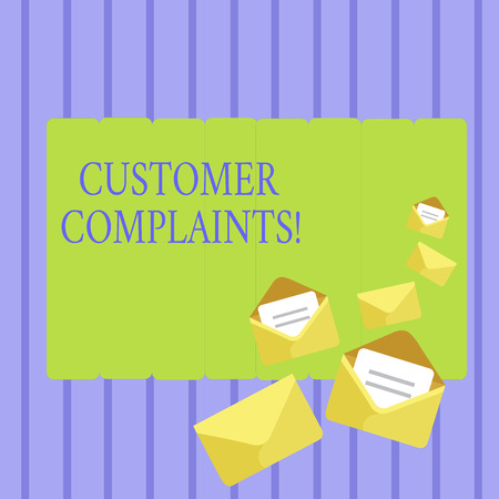 Writing note showing Customer Complaints. Business concept for expression of dissatisfaction on a consumer s is behalf Closed and Open Envelopes with Letter on Color Stationery 版權商用圖片