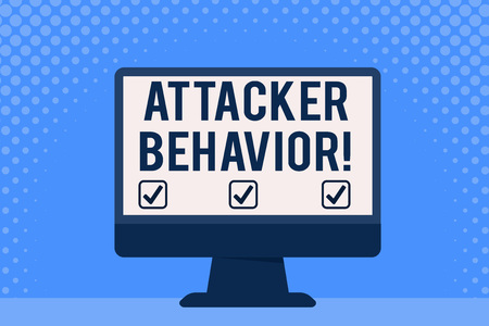 Conceptual hand writing showing Attacker Behavior. Concept meaning analyze and predict the attacker behavior of the attack Desktop Computer Colorful Monitor Screen Freestanding Table Stock Photo