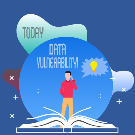 Conceptual hand writing showing Data Vulnerability. Concept meaning weakness of a data which can be exploited by an attacker Man Standing Behind Open Book Jagged Speech Bubble with Bulb