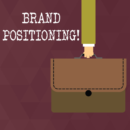 Writing note showing Brand Positioning. Business concept for creating a unique impression in the minds of the customers Businessman Carrying Colorful Briefcase Portfolio Applique