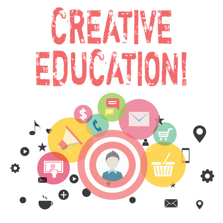 Text sign showing Creative Education. Business photo showcasing students able to use imagination and critical thinking photo of Digital Marketing Campaign Icons and Elements for Ecommerce