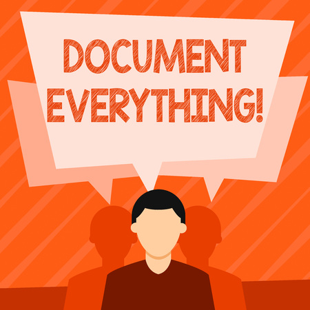 Word writing text Document Everything. Business photo showcasing computer file that contains text that you have written Faceless Man has Two Shadows Each has Their Own Speech Bubble Overlapping