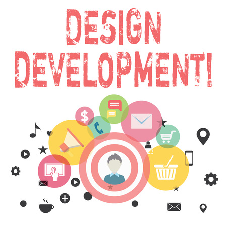 Text sign showing Design Development. Business photo showcasing technical aspects of materials and building systems photo of Digital Marketing Campaign Icons and Elements for Ecommerce