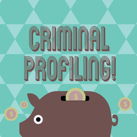 Writing note showing Criminal Profiling. Business concept for Develop profiles for criminals who not yet apprehended Piggy Money Bank and Coins with Dollar Currency Sign on Slit Reklamní fotografie