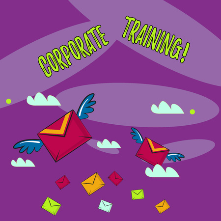 Word writing text Corporate Training. Business photo showcasing improving the employees perforanalysisce morale and skills Many Colorful Airmail Flying Letter Envelopes and Two of Them with Wings Stock Photo