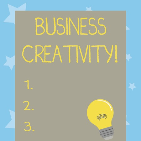Conceptual hand writing showing Business Creativity. Concept meaning act of turning new and imaginative ideas into reality Light Bulb with Filament Inside Resting on Blank Color Paper Imagens