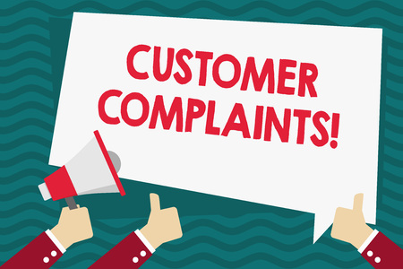 Handwriting text Customer Complaints. Conceptual photo expression of dissatisfaction on a consumer s is behalf Hand Holding Megaphone and Other Two Gesturing Thumbs Up with Text Balloon