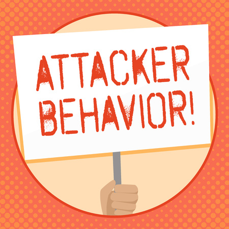 Writing note showing Attacker Behavior. Business concept for analyze and predict the attacker behavior of the attack Hand Holding White Placard Supported for Social Awareness 스톡 콘텐츠