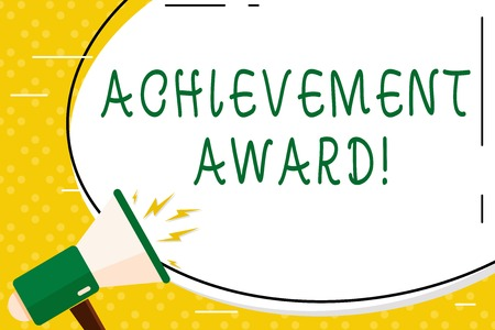 Writing note showing Achievement Award. Business concept for recognizes worthy and outstanding achievement in job skill Oval Shape Sticker and Megaphone Shouting with Volume Icon 版權商用圖片